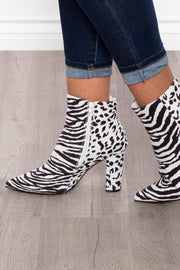 Curvy Sense -Plus_Size_Womens- Kir Royale Animal Zip Up Boots - White