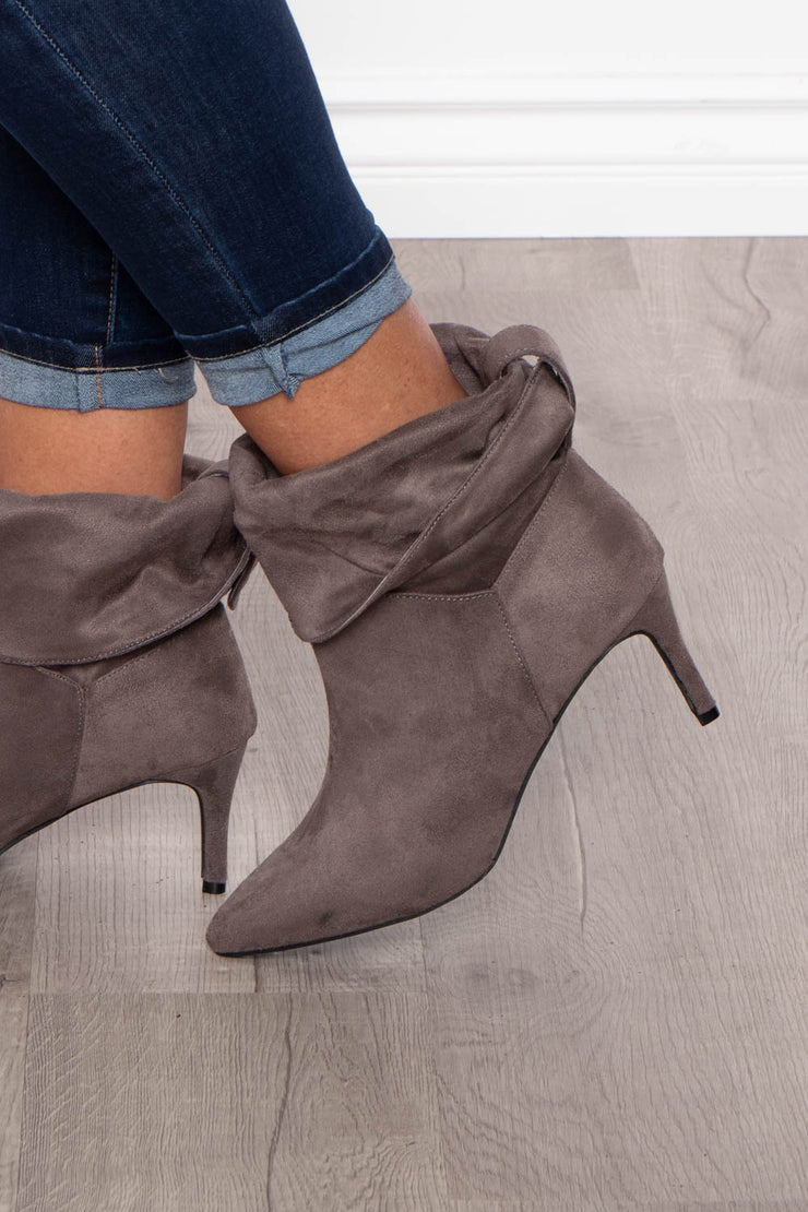Mickey Slim Pointy Slouch Bootie - Grey