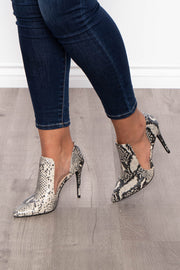 Curvy Sense -Plus_Size_Womens- Hornitos Snake Print Cut Out Stilettos - Taupe