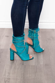 Highball Alligator Cut Out Booties - Teal