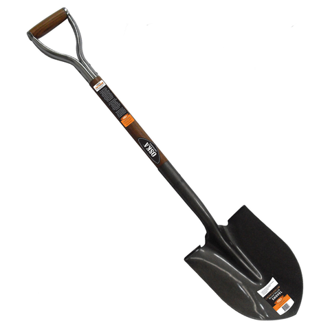 OKSA ROUND MOUTH SHOVEL -  CHROME PLATED GRIP - ASH WOOD HANDLE