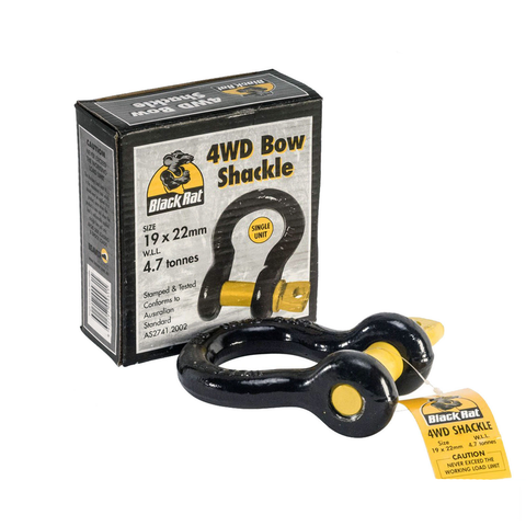 2 x BLACK RAT 4WD BOW SHACKLES 19x22mm WLL 4.7T