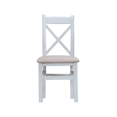Cotswold Cross Back Chair with Fabric Seat - Grey Painted