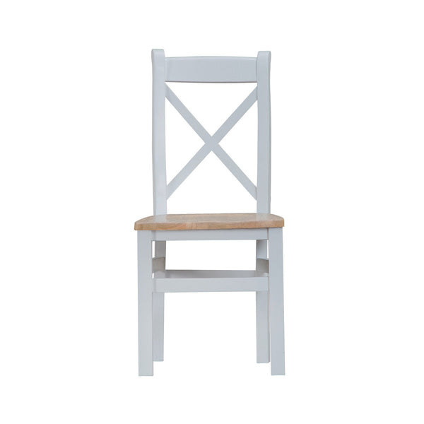 Cotswold Cross Back Chair with Wooden Seat - Grey Painted