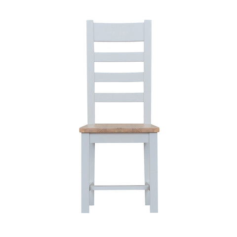 Cotswold Ladder Back Chair with Wooden Seat - Grey Painted