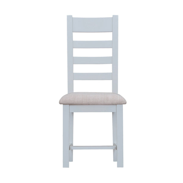 Cotswold Ladder Back Chair with Fabric Seat - Grey Painted