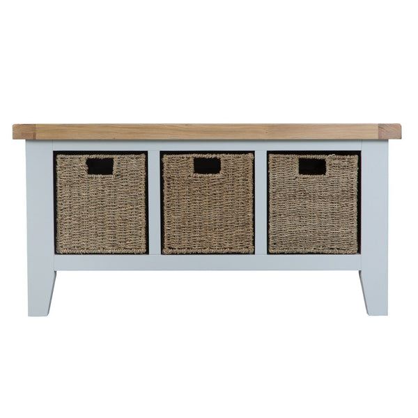Cotswold Large Hall Bench - Grey Painted