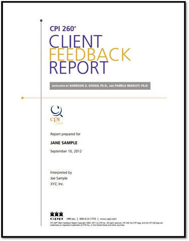 CPI 260 Coaching Report for Leaders - Sample Report