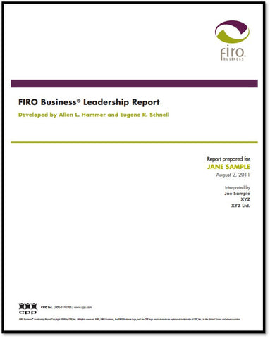 FIRO Business Leadership Report - Sample Report
