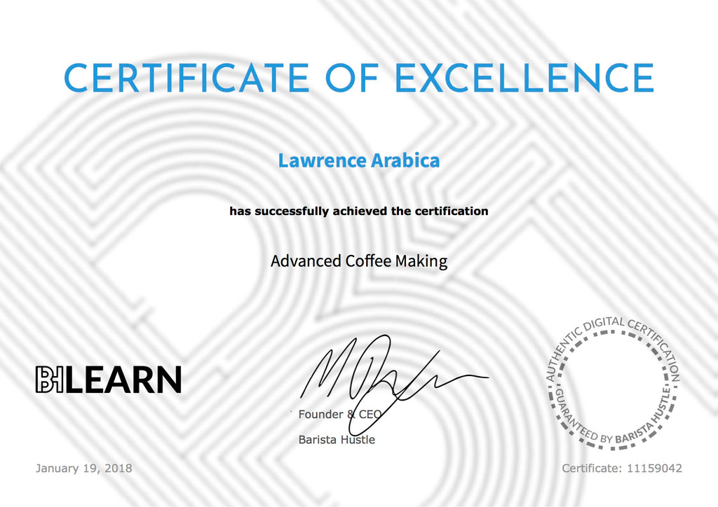 Advanced Coffee Making Course & Certification