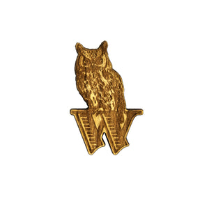 Rocky the Owl Wood Lapel pin