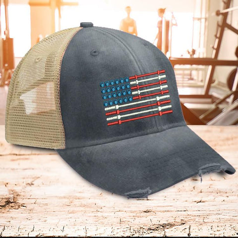 Barbell Flag Trucker Hat