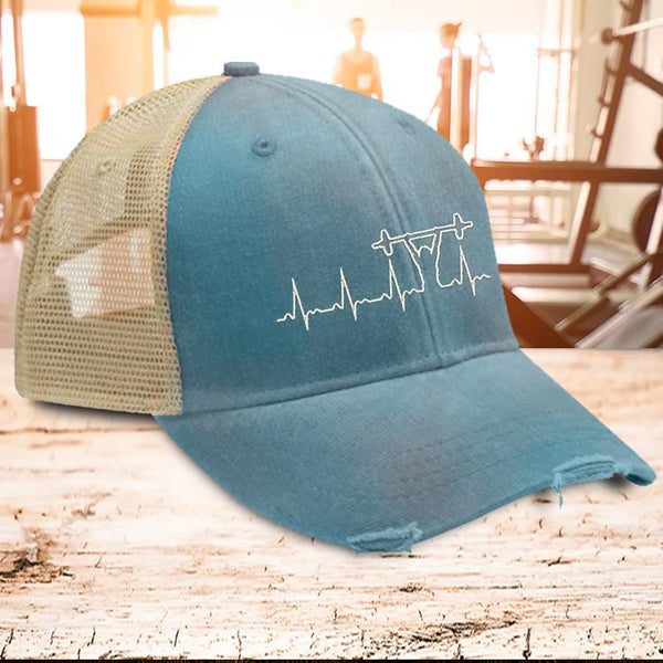 Barbell Heartbeat Trucker Hat