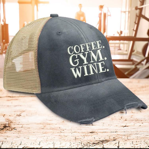 Coffee Gym Wine Trucker Hat