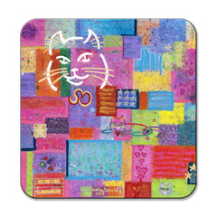 "Cat Art Coaster by Claudia Sanchez entitled ""Not Our President""."