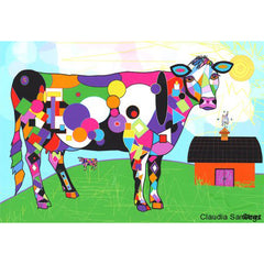 Op Art Cow with Barn by Claudia Sanchez