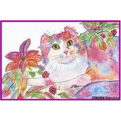 Pointsettia Cat by Claudia Sanchez