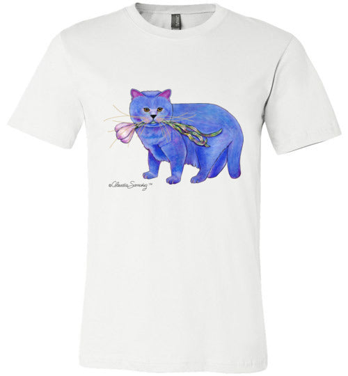 Garlic Cat Mens/Unisex Short Sleeved T-Shirt by Claudia Sanchez