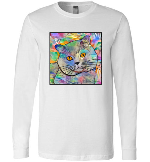 Buddy Guy Jazzy Cat Long Sleeved Cat Art Unisex T-Shirt by Claudia Sanchez