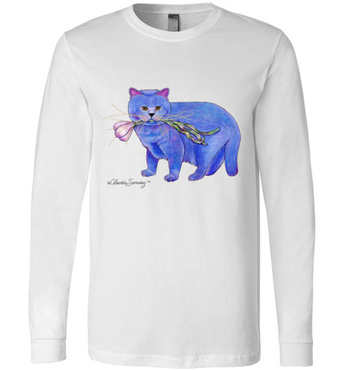 Garlic Cat Long Sleeved T-Shirt by Claudia Sanchez