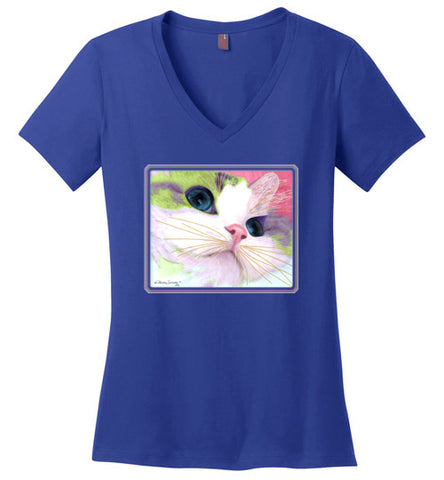 Ali's Eyes V-Neck Short Sleeved T-Shirt by Claudia Sanchez