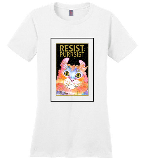 Simba RESIST-PURRSIST Short Sleeved Ladies T-Shirt by Claudia Sanchez