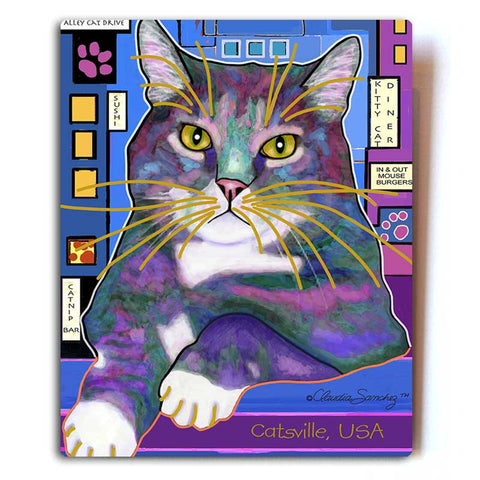 "Napper in Catsville Aluminum Cat Art Print, 8x10"" by Claudia Sanchez, Claudia's Cats Collection"