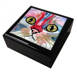 Elliot Face Cat Art Tile Keepsake Box by Claudia Sanchez