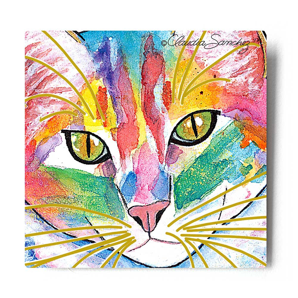 Abby Face Cat Art Aluminum Print by Claudia Sanchez