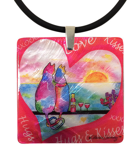 Two Cats in Heart Mother of Pearl Cat Art Pendant Necklace by Claudia Sanchez, Claudia's Cats