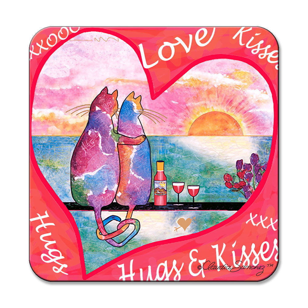 Two Cats in Heart Cat Art Coaster