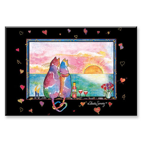 Two Cats in Love Wine Country - Cat Art Magnet by Claudia Sanchez