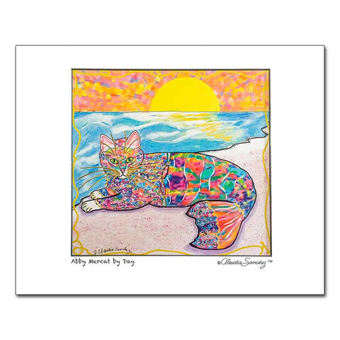 Abby Mercat, Archival Matted Cat Art Print by Claudia Sanchez