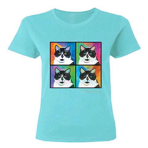 Bootie 4-Square Cat Art T-Shirt - Aqua, by Claudia Sanchez