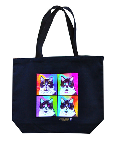 Bootie Four-Square Cat Art Tote Bag by Claudia Sanchez, Claudia's Cats Collection
