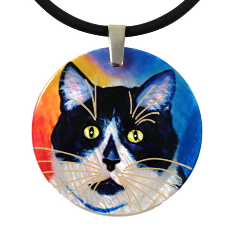 Bootie Round Mother of Pearl Cat Art Pendant Necklace by Claudia Sanchez, Claudia's Cats Collection