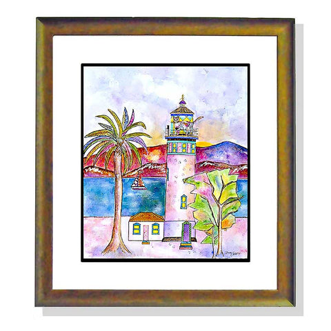But I Only Wanted a Lighthouse - Framed Original Cat Art by Claudia Sanchez