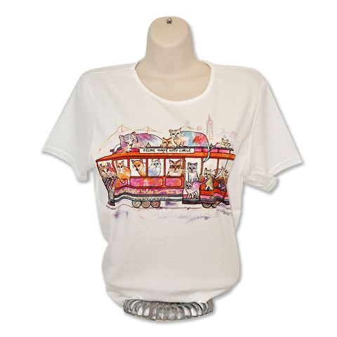 Cable Car Cats T-Shirt by Claudia Sanchez, Claudia's Cats Collection