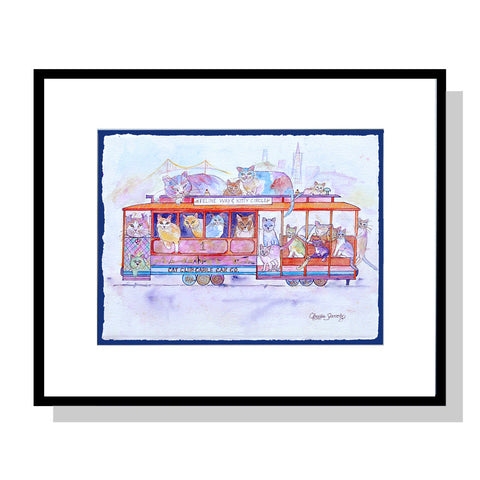 Cat Club Cable Car Company, Framed Original Artwork by Claudia Sanchez