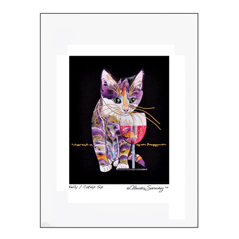 Catnip Sip on Black Background, Archival Matted Cat Art Print by Claudia Sanchez