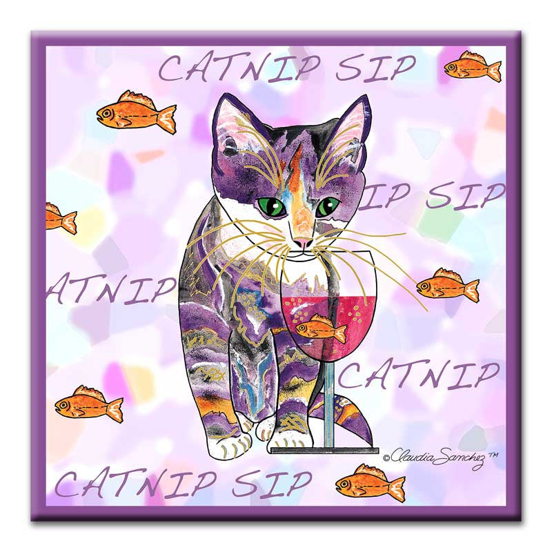 Catnip Sip with Goldfish - Cat Art Ceramic Tile by Claudia Sanchez, Claudia's Cats Collection