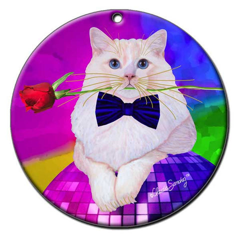 Erik Catango Ceramic Cat Art Christmas Ornament by Claudia Sanchez, Claudia's Cats Collection