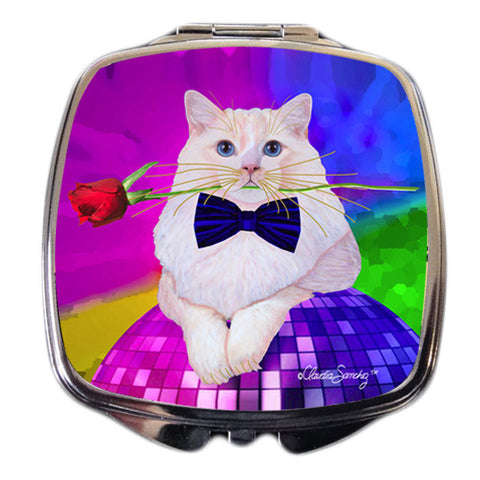 Erik Catango Cat Art Compact Mirror by Claudia Sanchez