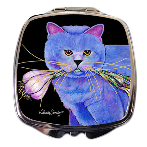 Kayo, Garlic Cat Compact Mirror by Claudia Sanchez