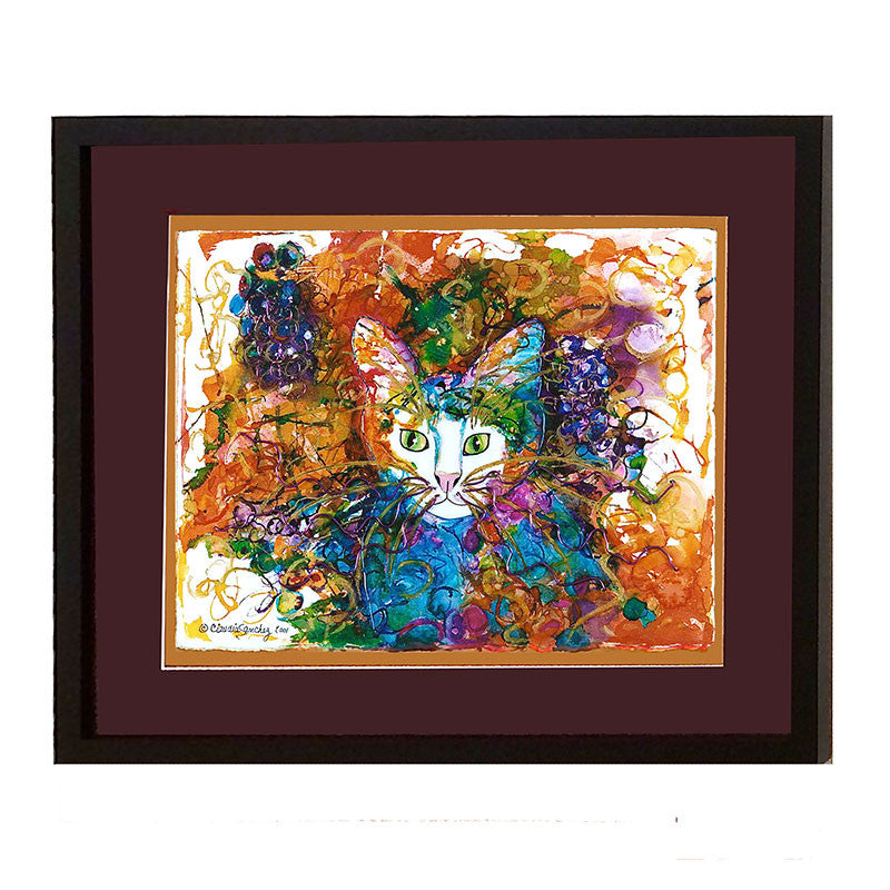 Grape Face - Framed Original Cat Art by Claudia Sanchez