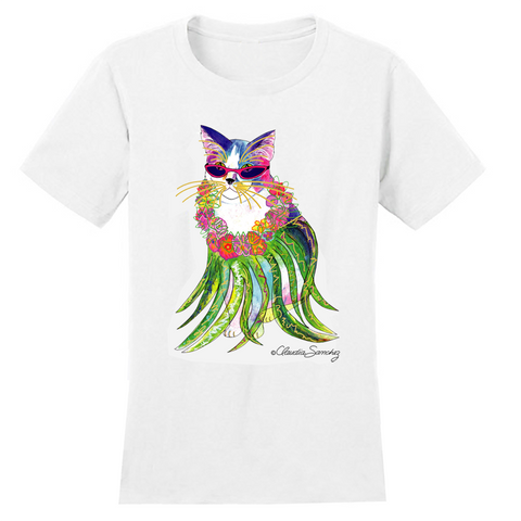 Holly Hula Cat Hawaiian Cat Art T-Shirt by Claudia Sanchez