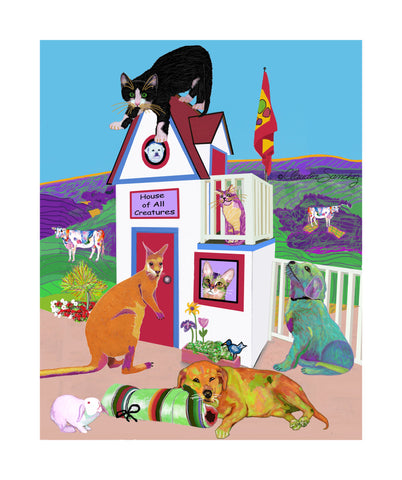 House of All Creatures Poster by Claudia Sanchez, Claudia's Cats Collection