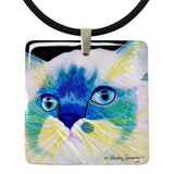 Juliette's Face Mother of Pearl Cat Art Pendant Necklace by Claudia Sanchez, Claudia's Cats collection