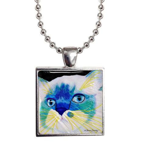 "Juliette's Face 1"" Mother of Pearl Cat Pendant Necklace by Claudia Sanchez, Claudia's Cats Collection"