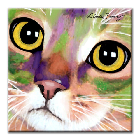 Kauhi Eyes Decorative Ceramic Cat Art Tile by Claudia Sanchez